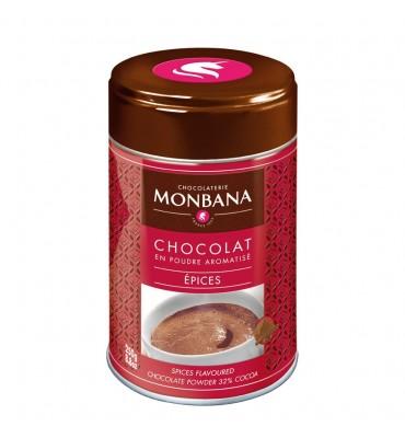 Chocolat en poudre Monbana aromatisé Epices en boîte de 250g
