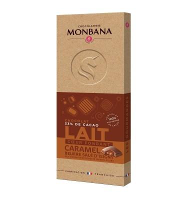 Tablette de chocolat noir, coeur coulant caramel beurre salé d'Isigny
