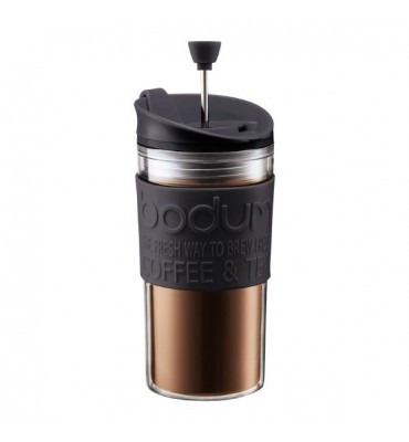 TRAVEL PRESS Mug à piston isotherme en plastique, couvercle à clapet, 0.35 l
