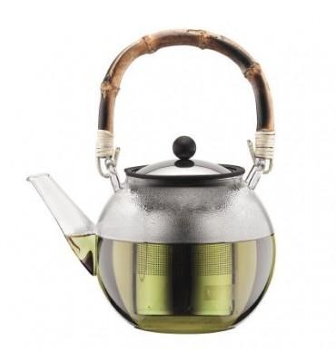 Théière piston, filtre inox, anse bambou naturel 1 litre