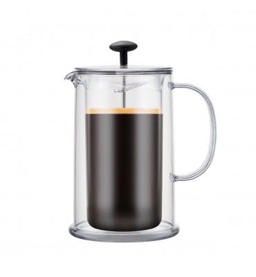 Cafetière/Théière à piston double paroi, 8 tasses, 1.0 l, en plastique et inox