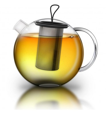 Théière en verre boroscilicate 1.5 litre avec filtre inox