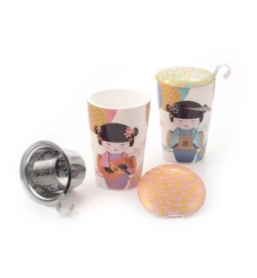 Tisanière New Geisha porcelaine double paroi 35cl avec filtre