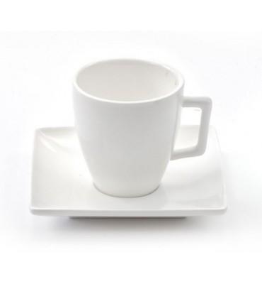 Tasses 15 cl et sous tasses Riviera en porcelaine blanche